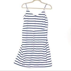 Old Navy (L) Blue White Striped Draw Waist Dress
